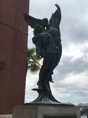 Kinda creepy. An angel taking the soul of a soldier...to heaven maybe?